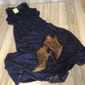 Kings Road navy long dress NWT